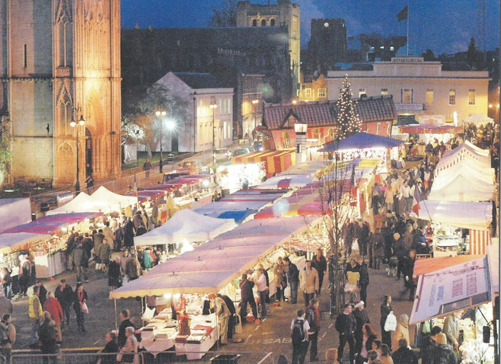 The very popular Christmas Fayre on Angel Hill, Bury St Edmunds