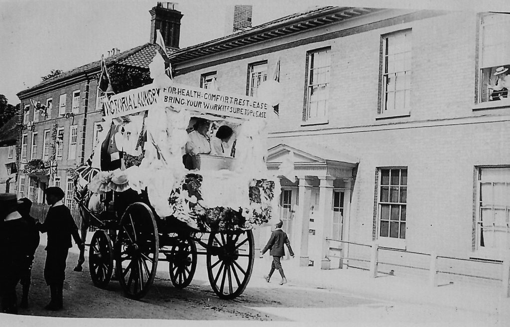 The Victoria Laundry carnival float outside No.112 Northgate Street